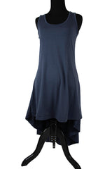 navy blue sleeveless maxi high low top