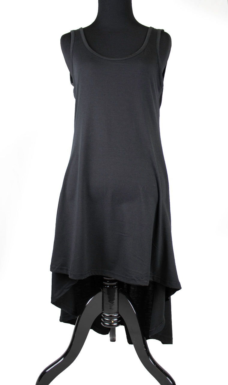 High-Low Sleeveless Top - Black