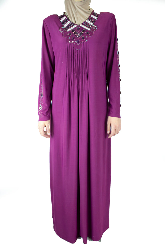 purple abaya with pleats on the chest and jewels along the neckline and arms