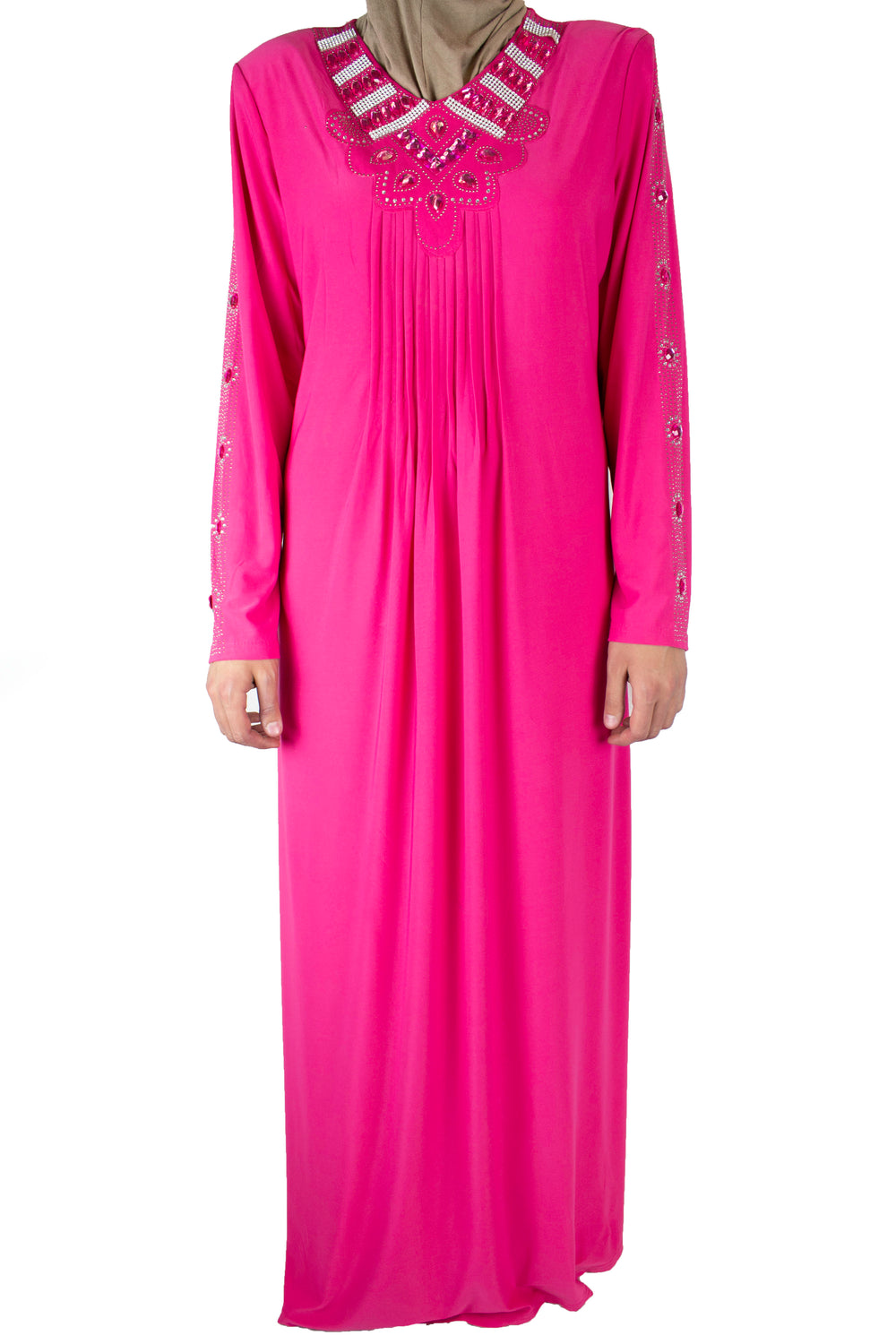 pink abaya with pleats on the chest and jewels along the neckline and arms
