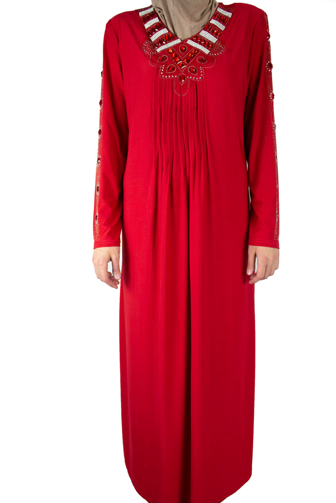 red abaya with pleats on the chest and jewels along the neckline and arms