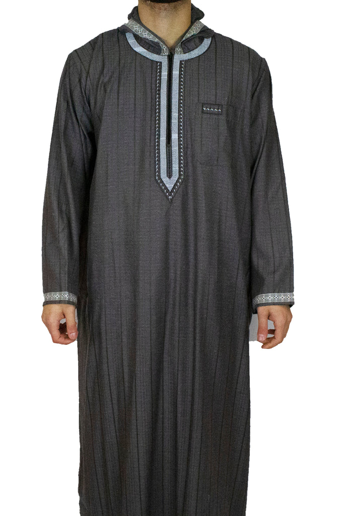 gray hooded jilbab thobe for men
