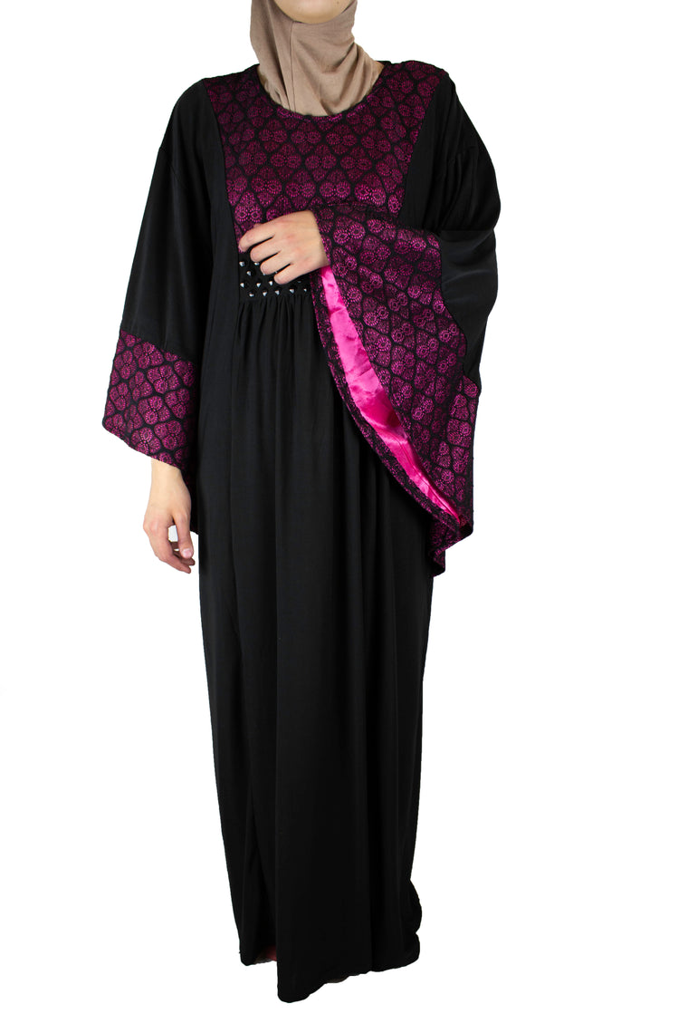 Oasis Butterfly Abaya - Pink & Black