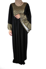 black butterfly abaya with tan embroidered metallic detailing