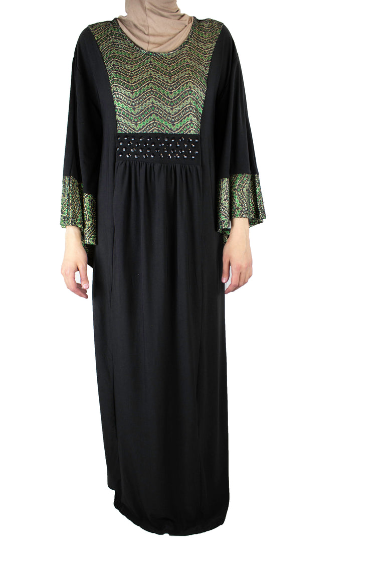 Waves Butterfly Abaya - Green & Gold