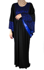 black butterfly abaya with royal blue embroidered metallic detailing and satin lining
