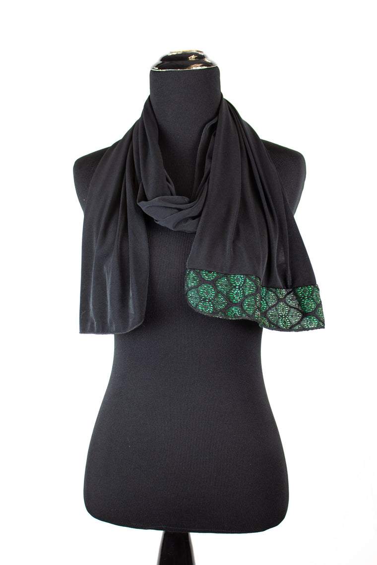 black lycra jersey hijab with green metallic trim