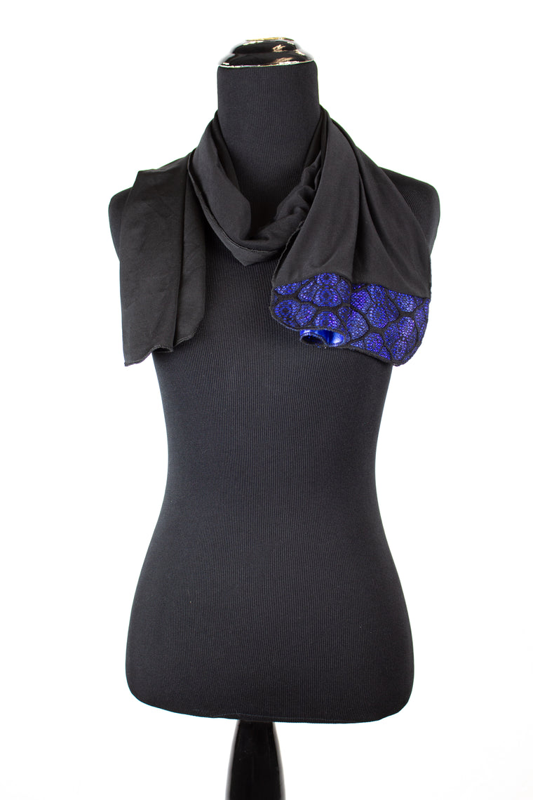 black lycra jersey hijab with royal blue metallic trim