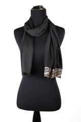 black lycra jersey hijab with tan metallic trim