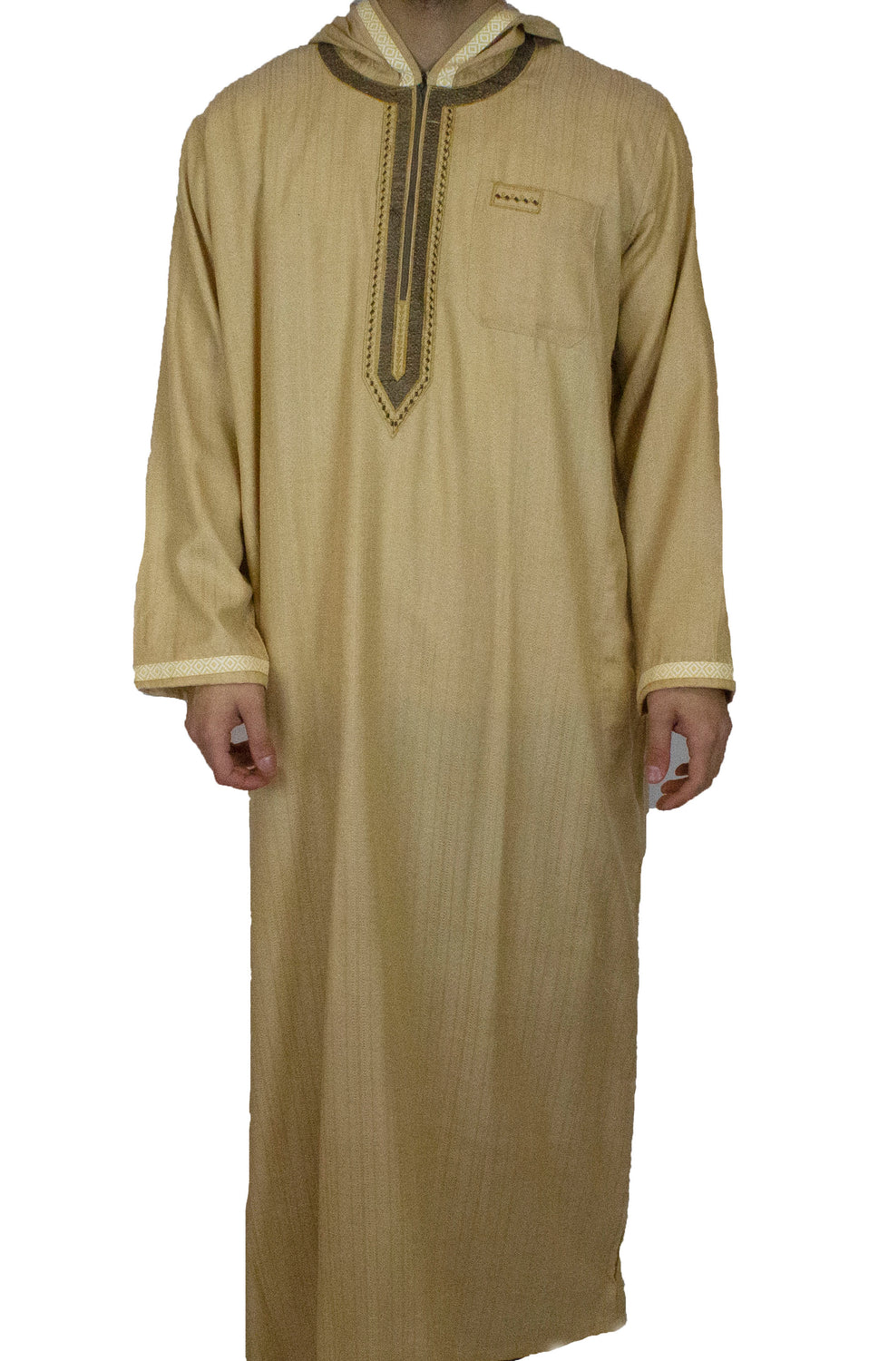 Men's Hooded Thobe - Gold and Brown