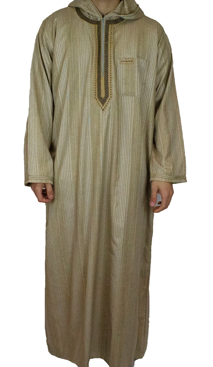 Men's Hooded Thobe - Light Brown Stripes