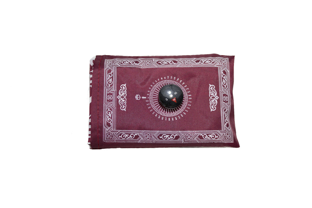 maroon travel prayer rug