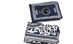 navy blue travel prayer rug