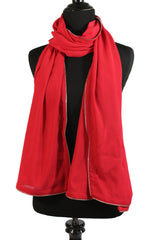 Chiffon Zipper Trim Hijab - Red