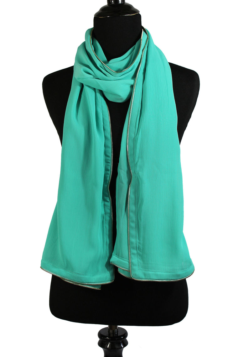 Chiffon Zipper Trim Hijab - Aqua Blue