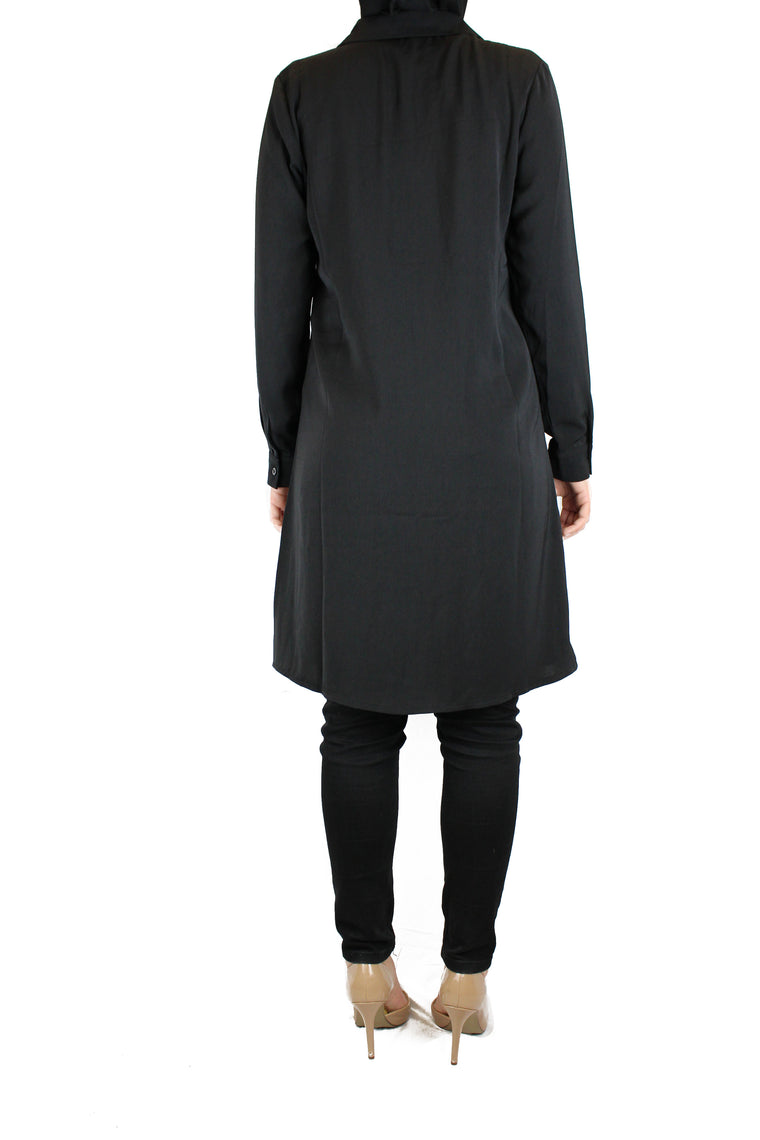 black modest long sleeved dress shirt with pockets and a collar