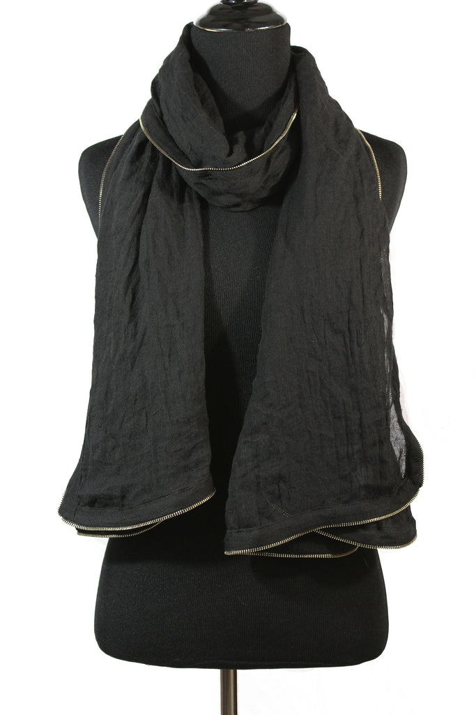 Viscose Zipper Trim Hijab - Black
