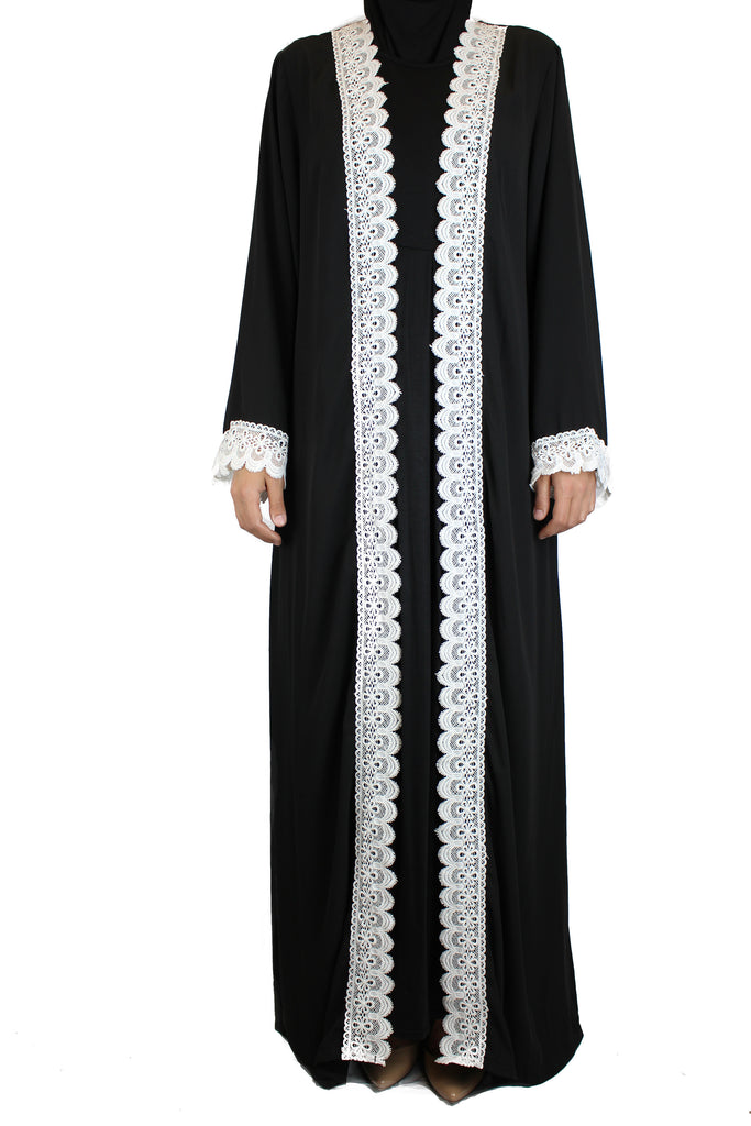 Lace Trim Open Abaya - Black