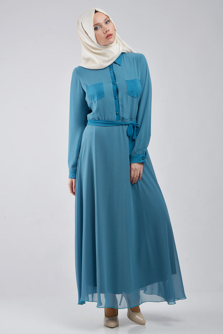 Sky Blue Dress with Front Pockets