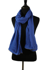 Viscose Zipper Trim Hijab - Blue