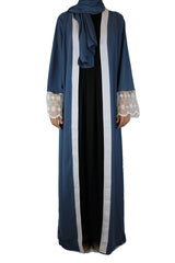 abaya in blue embellished with lace sleeves and a matching hijab
