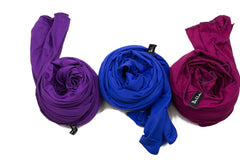 jersey hijabs in purple, royal blue, and magenta