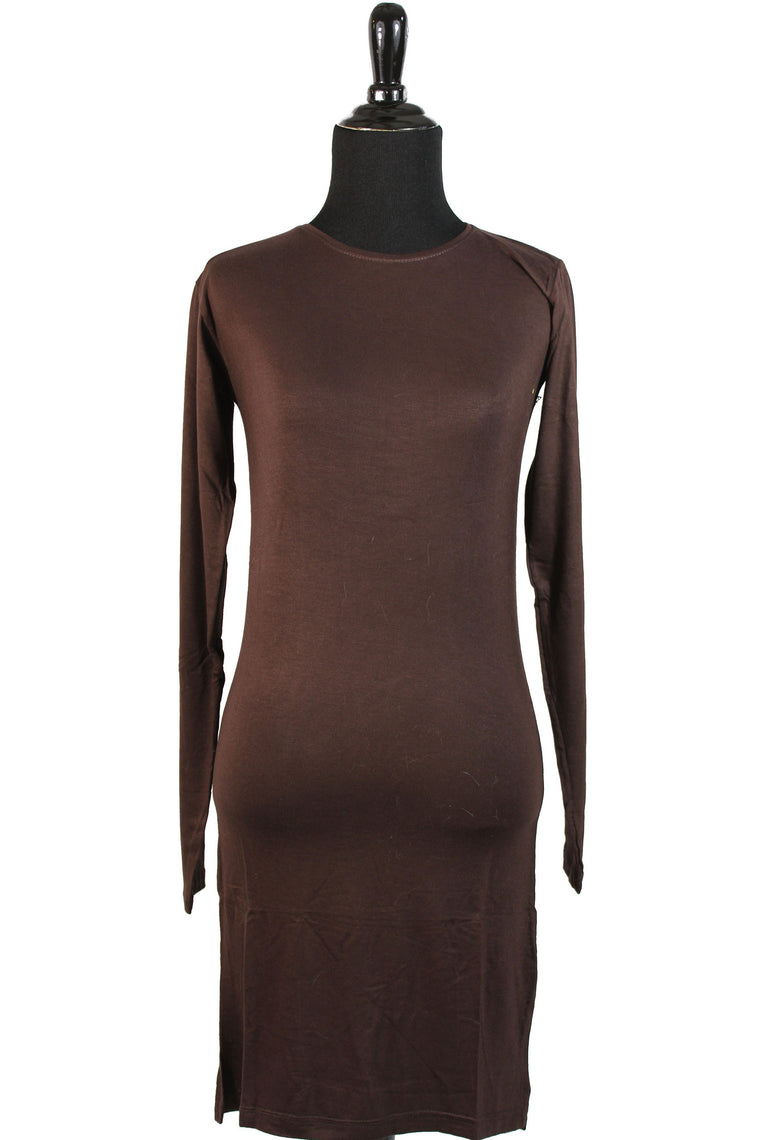 Extra Long Sleeve Basic Top - Brown