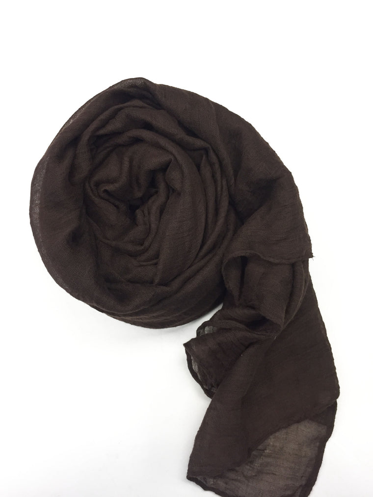 Crinkle Cotton Hijab - Brown