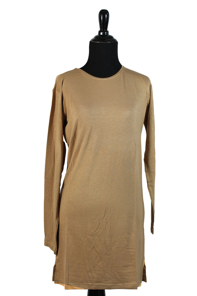 Extra Long Sleeve Basic Top - Beige