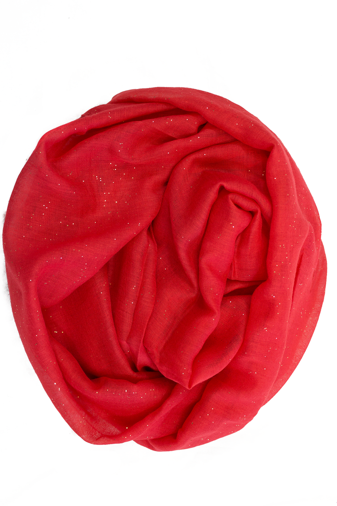 Glitter Viscose Hijab - Red