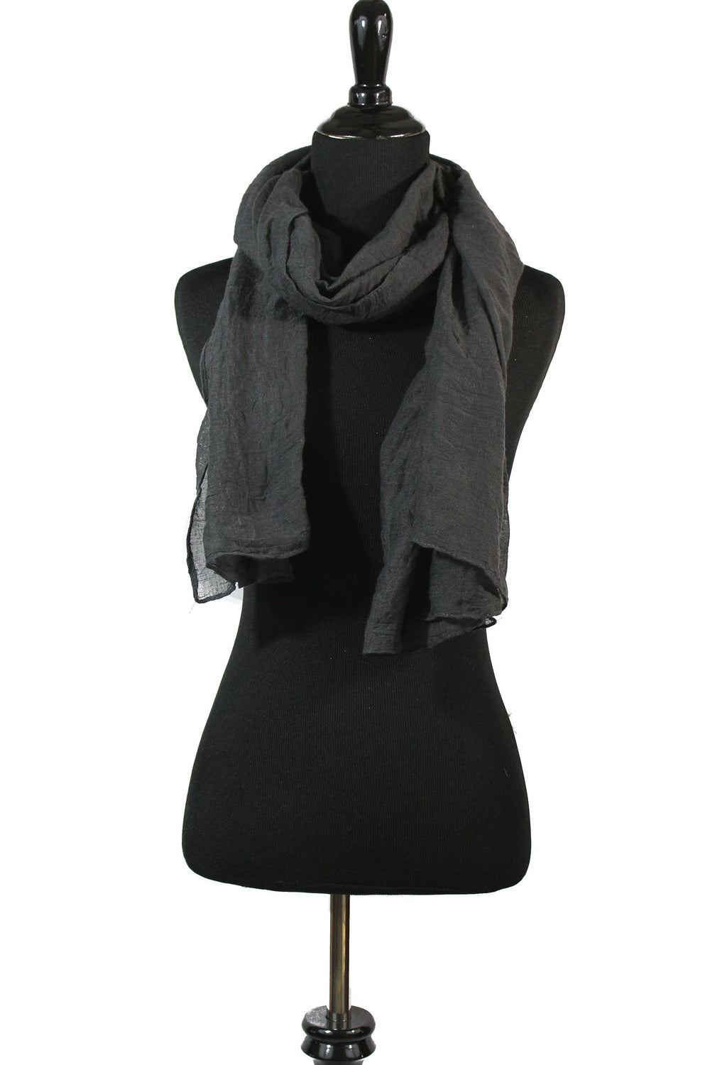 Crinkle Cotton Hijab - Dark Gray