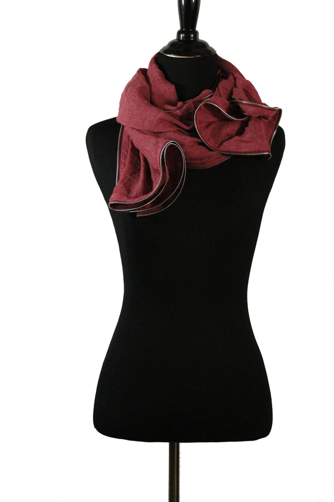 Viscose Zipper Trim Hijab - Deep Red