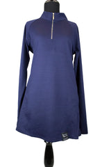 modest navy half zip work out top with long sleeves
