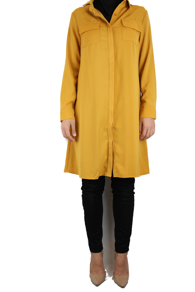 mustard modest long sleeved dress shirt with pockets and a collar