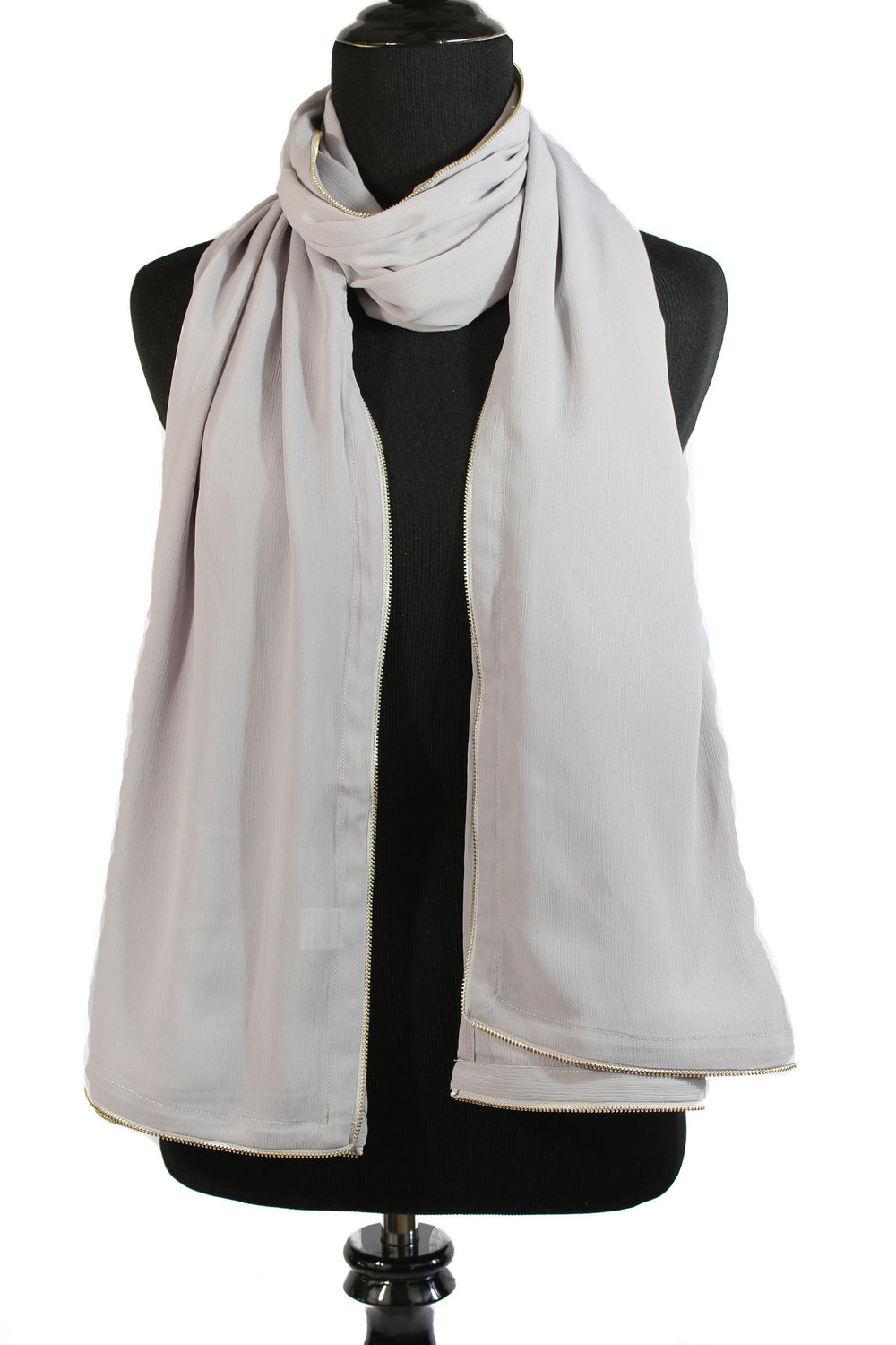 Chiffon Zipper Trim Hijab - Gray