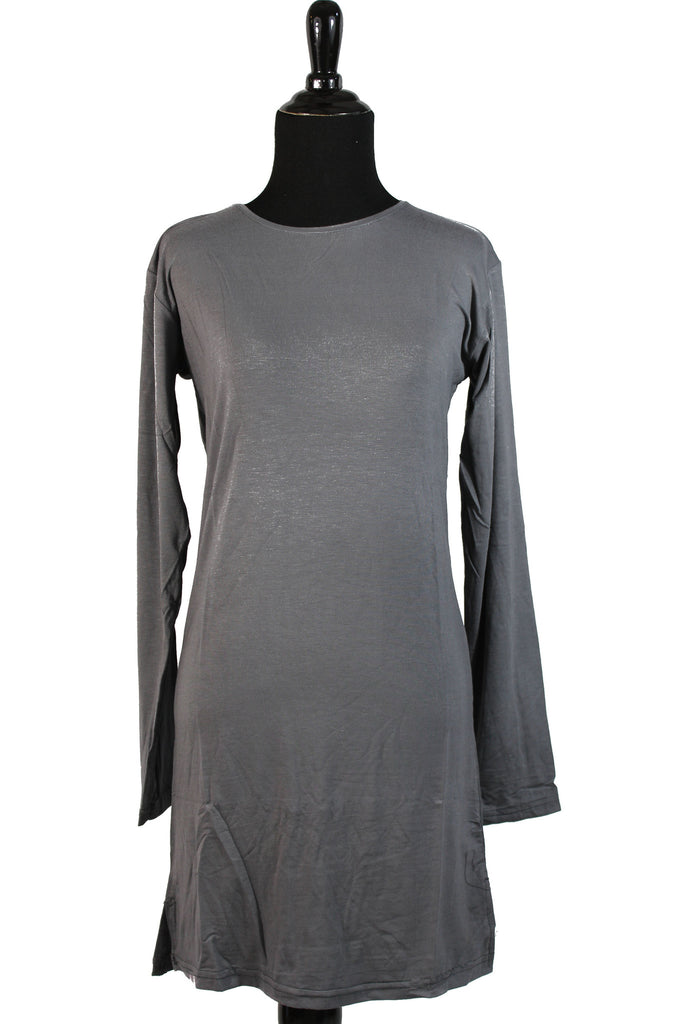 Extra Long Sleeve Basic Top - Gray
