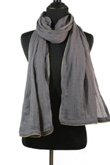 Viscose Zipper Trim Hijab - Gray
