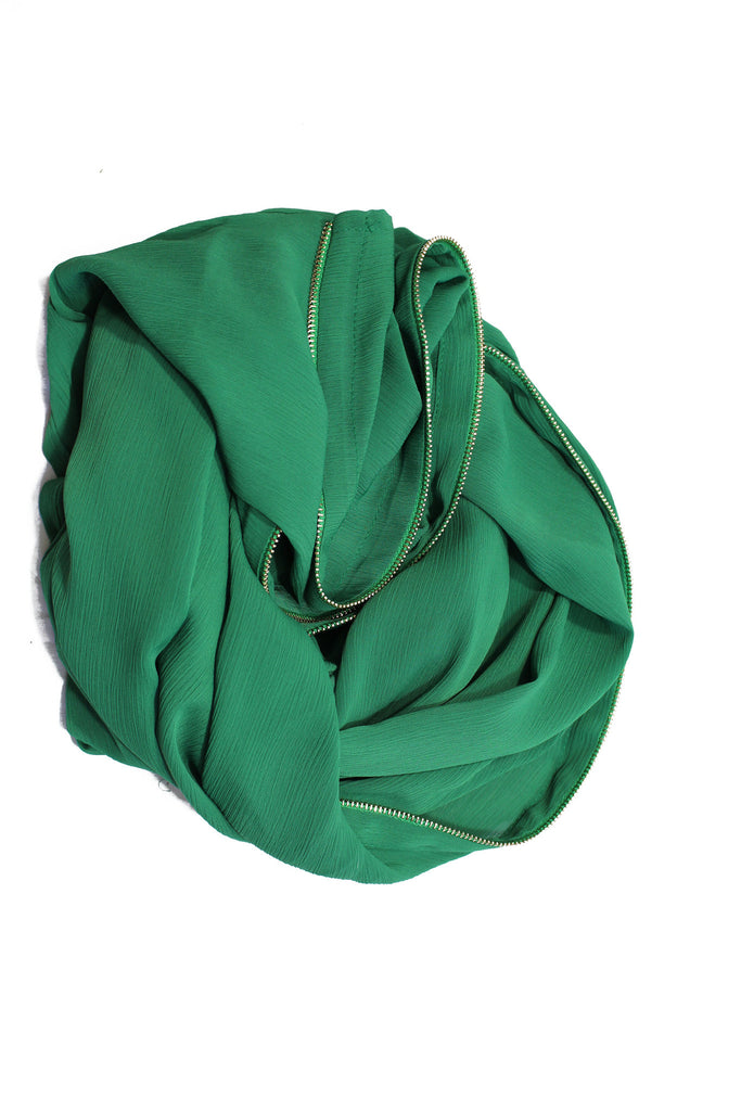 Chiffon Zipper Trim Hijab - Green