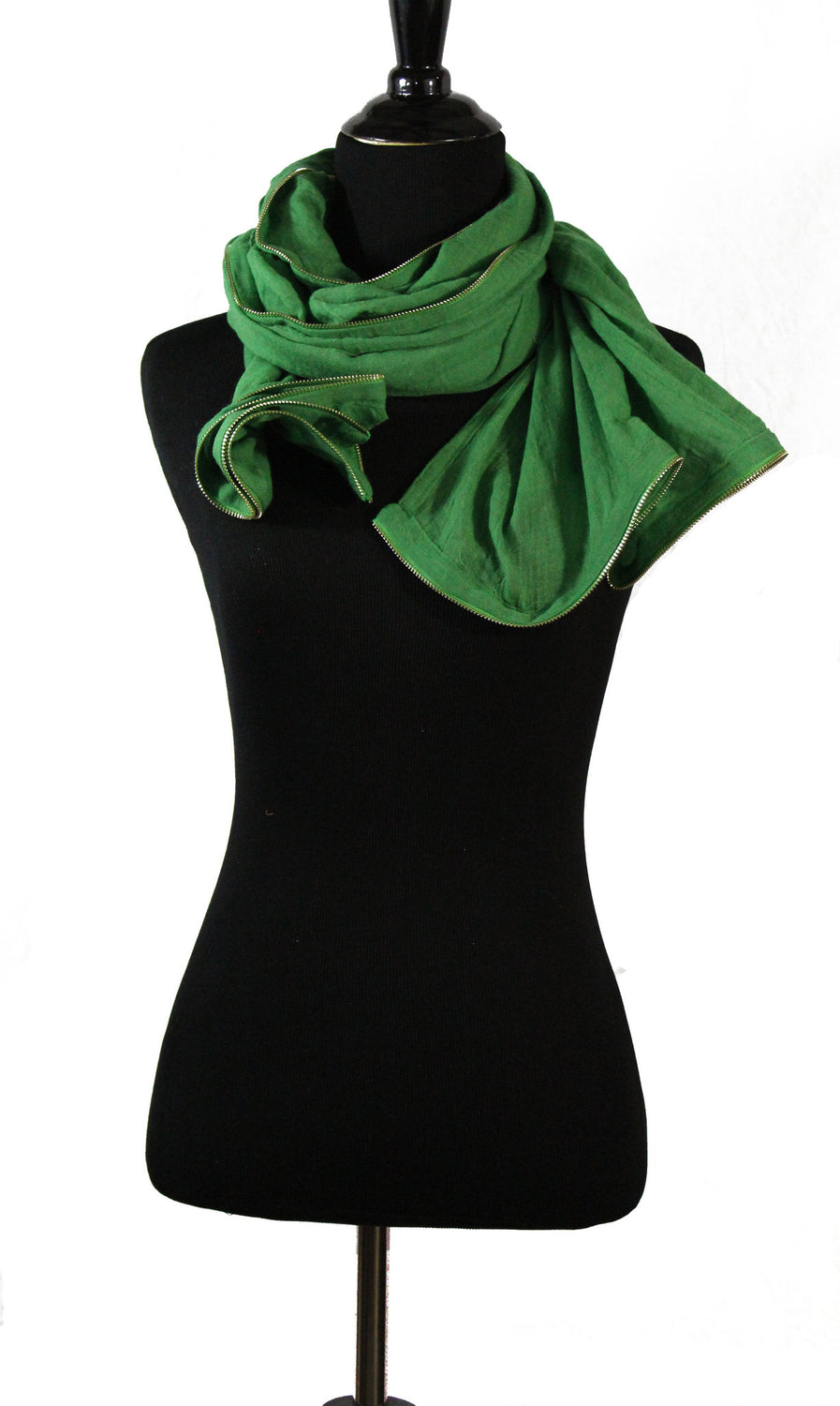 Viscose Zipper Trim Hijab - Green