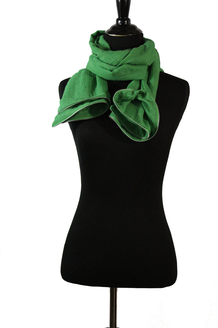 green viscose hijab with silver zipper trim