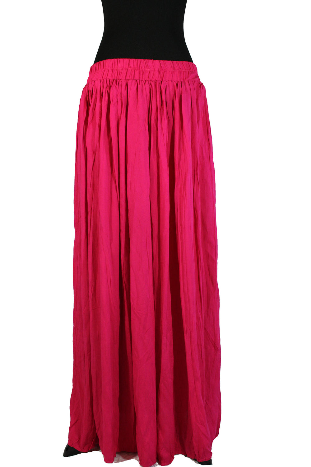 hot pink pleated maxi skirt