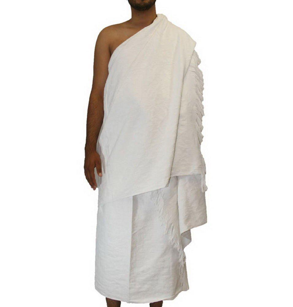 man wearing two pieces of white cloth for umrah