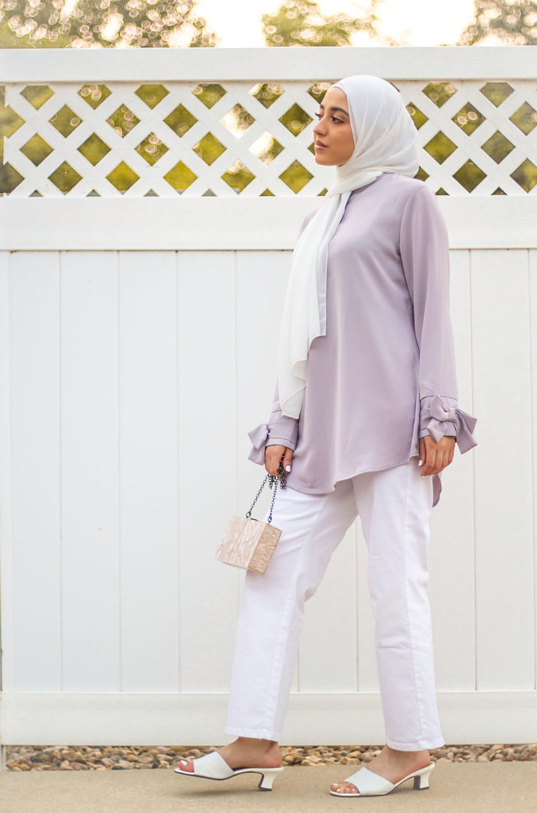 Bow Sleeve Top - Touch of Lilac