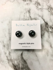 Two Glossed Magnetic Pins - Black