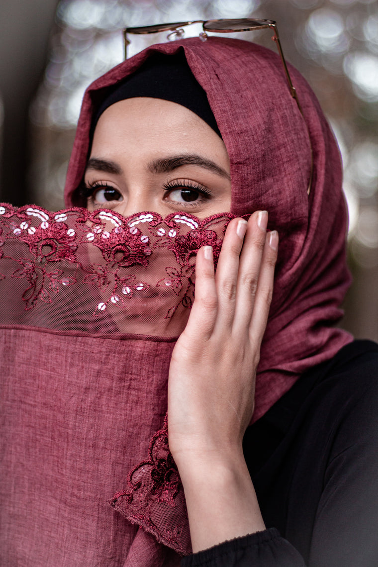 Sequin Lace Hijab -  Dusty Red (Sequin Drops)