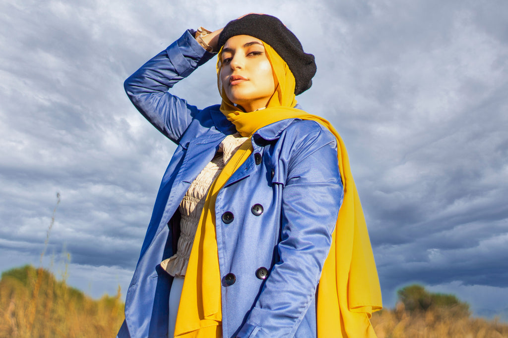 Long Trench Coat - Blue