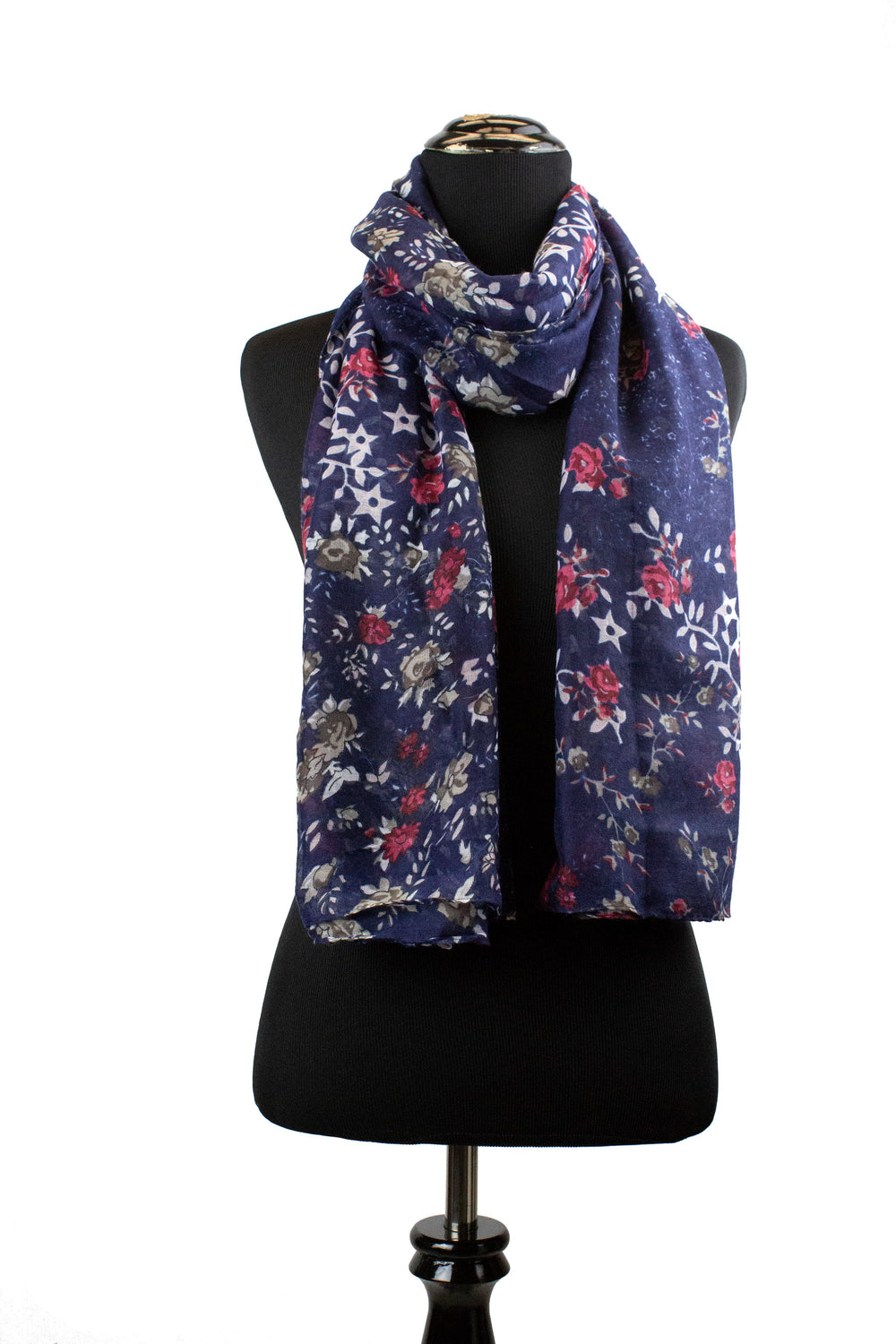 floral print hijab in navy and white