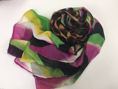 green, purple, brown, white, and black hijab with cheetah print and swirls