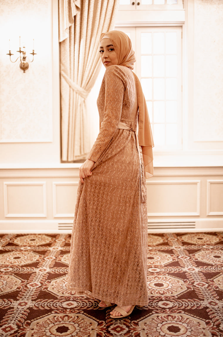 Long Sleeve Lace Maxi Dress with Satin Belt - Butterscotch
