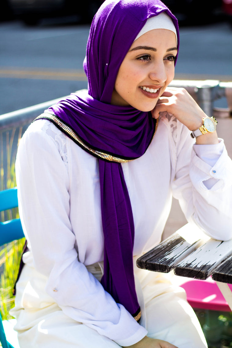 Gold Trim Jersey Hijab - Purple